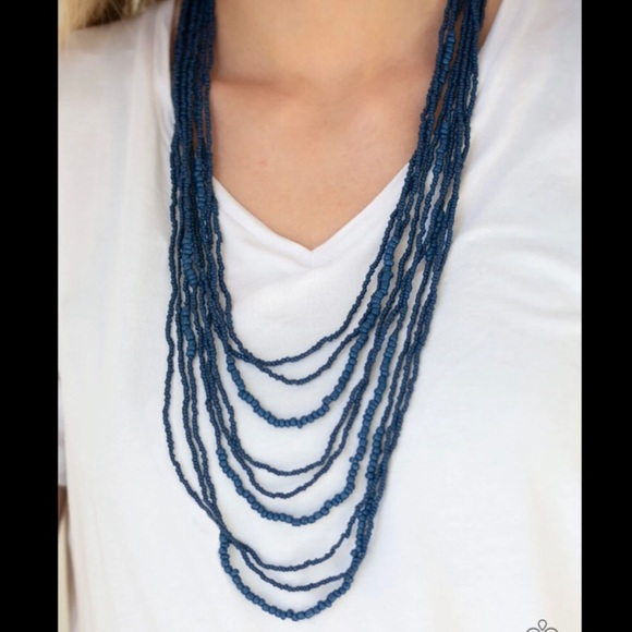 K4 Blue multi strand seed bead necklace